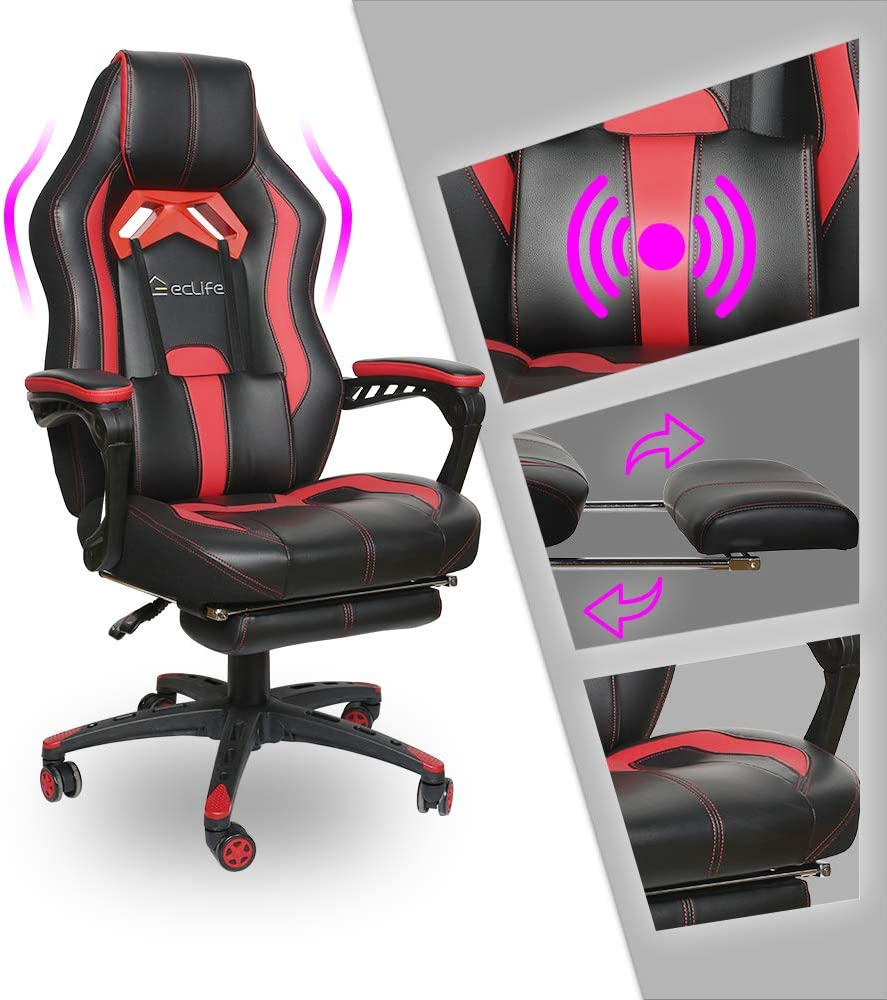 Video Gaming Chair Racing Recliner - Ergonomic Adjustable Padded Armrest Swivel High Back Footrest with Headrest Lumbar Support Leather Breathable Bucket Seat Home Office Massage (Black & RED)