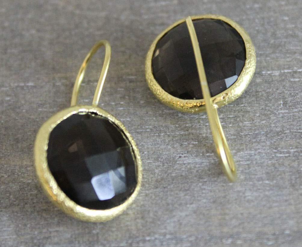 Rauchquarz Edelstein Runde Form vergoldet Sterling Silber Ohrringe Ohrhaken