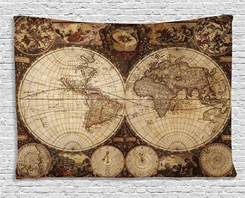 Ambesonne World Map Tapestry, Old World Map Drawn in 1720s Nostalgic Style Art Historical Atlas Vintage Design, Wide Wall Hanging for Bedroom Living Room Dorm, 80