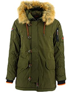 Superdry Glacier Padded Parka Jacket Large Khaki at Amazon ...