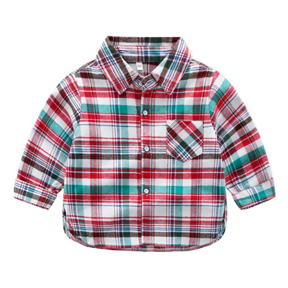 Beide Kids Boys Button Down Long Sleeve Plaid Shirt