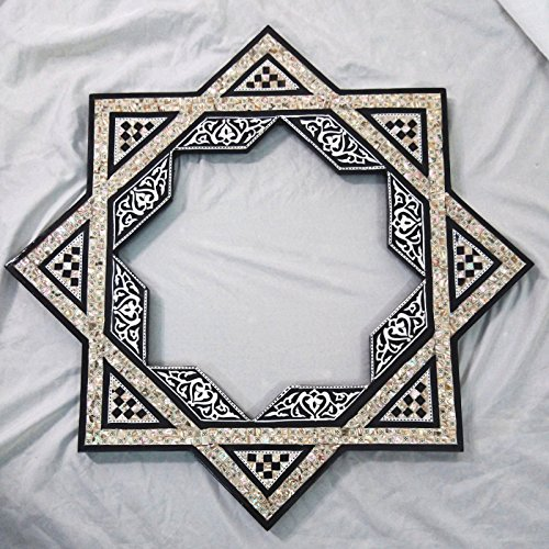 W64 Islamic Star Inlaid Mother Of Pearl Black Wood Mirror Frame by zahereen