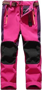 BELLOO con forro polar resistentes al viento y trekking Pantalones de softshell para ni/ños impermeables