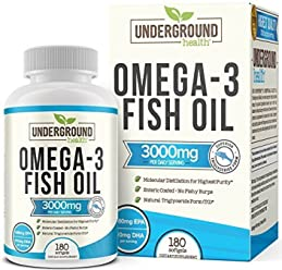 Omega 3 Fish Oil 3000mg. 180 Enteric Coated Softgels (60 Day Supply). Superior Triglyceride Form (TG). 1080mg EPA & 810mg DHA Per Daily Serving