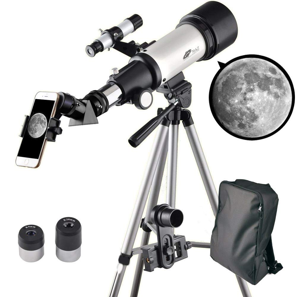 Landove Telescope 70mm Apeture Travel Scope 400mm AZ Mount - Good Partner to View Moon and Planet - Good Travel Telescope with Backpack for Kids and Beginners by Landove