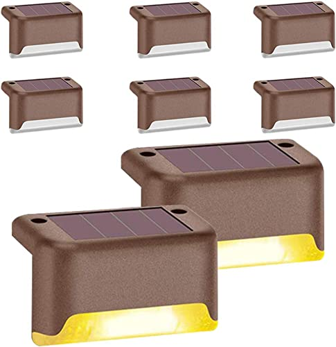 Solar Deck Lights Outdoor, Solar Step Light LED Waterproof Lighting for Outdoor Deck, Patio, Stair, Yard, Path and Driveway Warm White 8 PCS