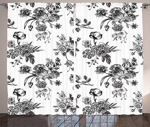(Ambesonne Black and White Curtains, Vintage Floral Pattern Victorian Classic Royal Inspired New Modern Art, Living Room Bedroom Window Drapes 2 Panel Set, 108 W X 84 L Inches, White and Black)