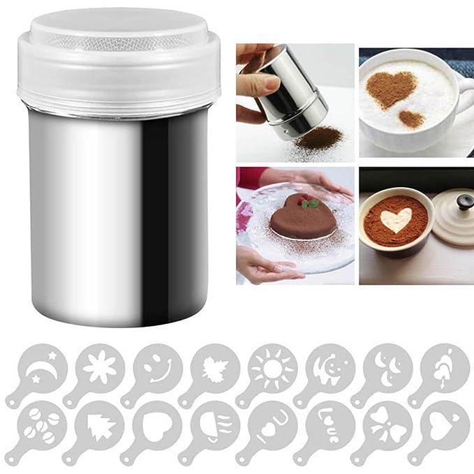 Wildlead - Polvo de Acero Inoxidable coctelera de latas para café de Cacao de Canela de Polvo con 16 Pc de impresión formt Plantillas de Herramientas: ...