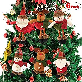 Dreampark Plush Christmas Ornaments, 6 Pack Xmas Hanging Ornaments Decorations Festive Season Pendant - Santa/Snowman/Reindeer Ornaments Plush for Christmas Tree