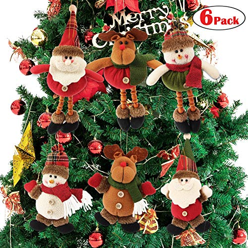 Dreampark Plush Christmas Ornaments, [6 Pack] Xmas Hanging Ornaments Decorations Festive Season Pendant - Santa/Snowman/Reindeer Ornaments Plush for Christmas Tree