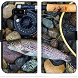 Luxlady Samsung Galaxy Note 9 Flip Fabric Wallet Case Image ID: 34662975 Top View of a Single Native Wild Trout Next to Fishing Reel Landing net
