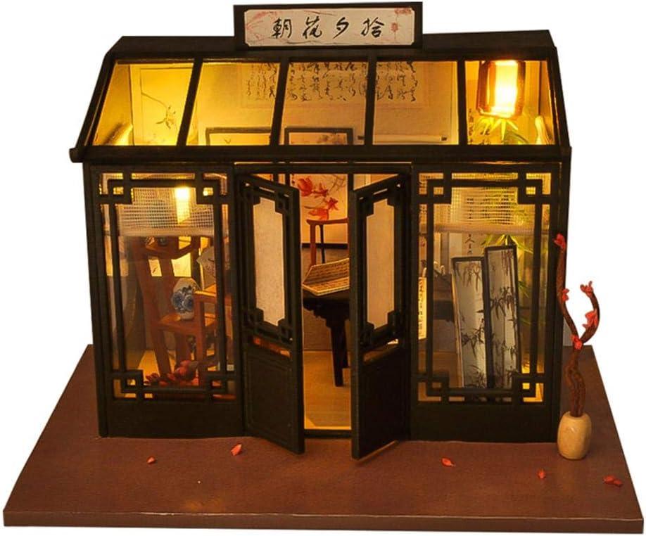 Ardentity Miniature DIY Maisons de Poup/ées en Bois Model Kits DIY Cottage D/écoration de Maison Boutique R/étro du Monde Cadeau de No/ël Cr/éatif pour Enfants et B/éb/és