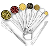 9 PCS/Set Stackable Measuring Spoons, Stainless Steel Measuring Spoons for Dry and Liquid Ingredients, Etched Marked Baking Cooking Spoon with Leveler and Detachable Ring Holder (9 -Spoons Set)