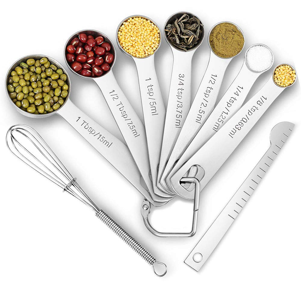 9 PCS/Set Stackable Measuring Spoons, Stainless Steel Measuring Spoons for Dry and Liquid Ingredients, Etched Marked Baking Cooking Spoon with Leveler and Detachable Ring Holder (9 -Spoons Set) GRASINUO