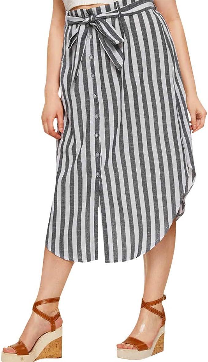 Conquro-falda botón Rayas Mujer Tallas Grandes para Mujer con ...