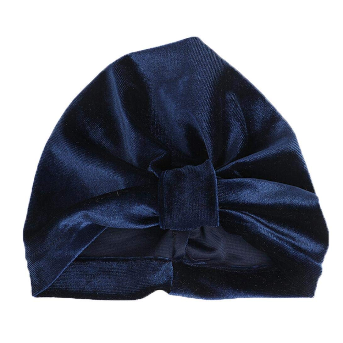 WARMSHOP Newborn Girls Boys Solid Microfiber organic knotted Bowknot Lovely Soft Baby Sleep Beanie Hospital Hat Caps (Navy, Medium)