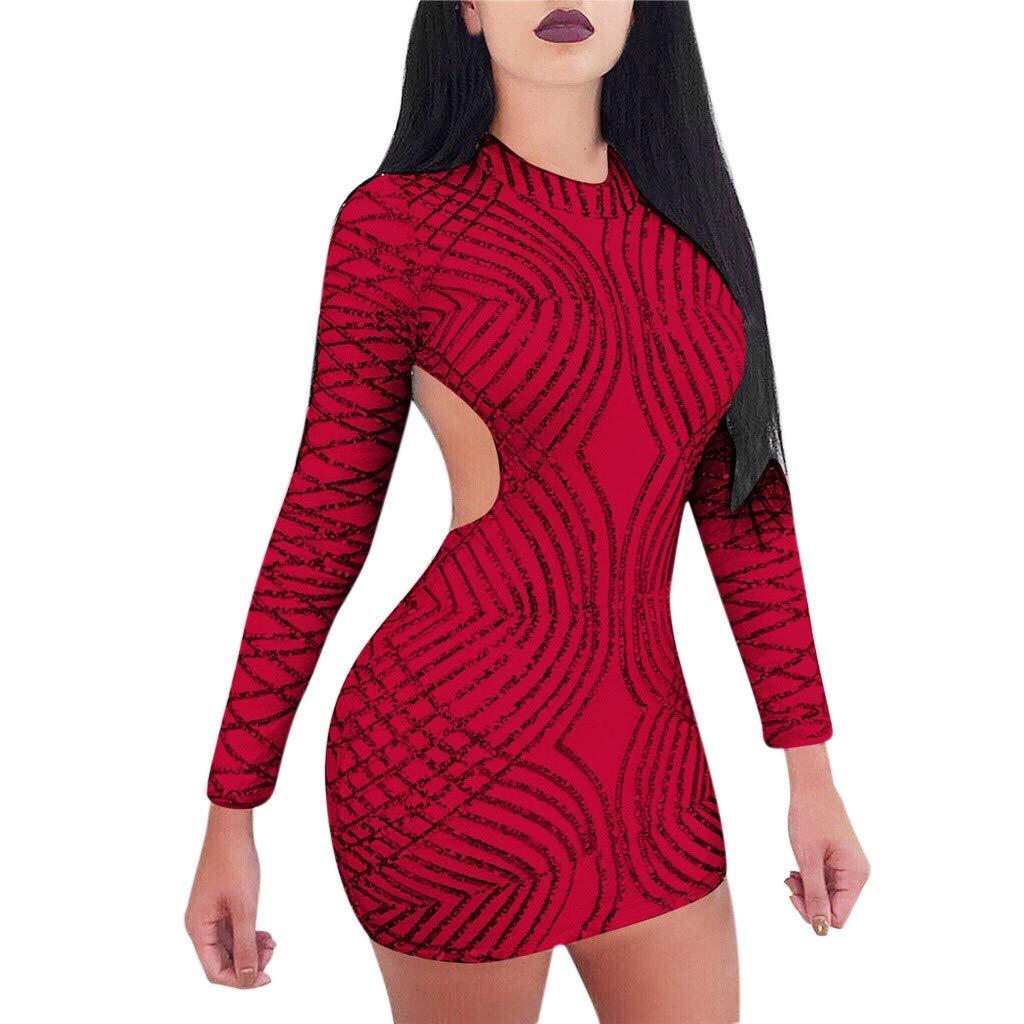 Winsummer Women's Sexy Backless Dress Long Sleeve Round Neck Bodycon Mini Dress Red