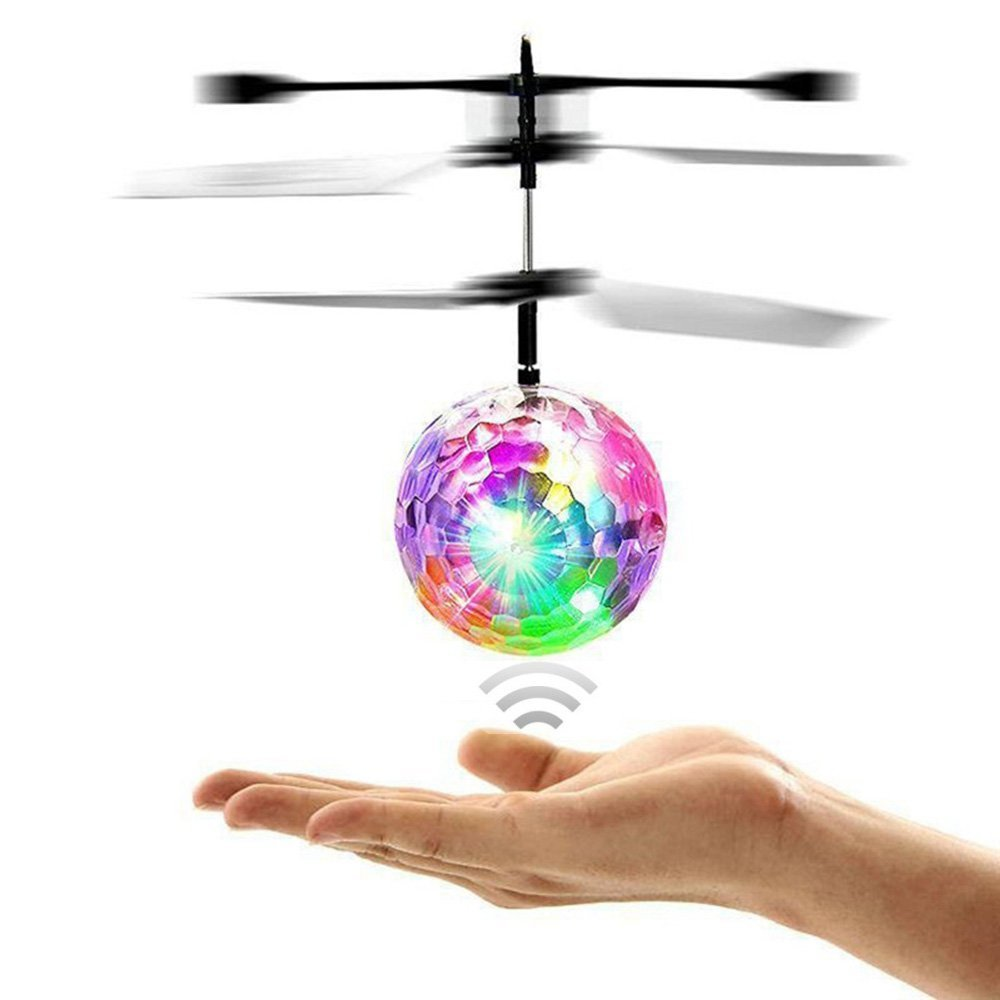 RC Toy, RC Flying Ball, RC infrared Induction Helicopter Ball Built-in Shinning LED Lighting for Kids, Teenagers Colorful Flyings for Kid\'s Toy (Transparent) Kiss me