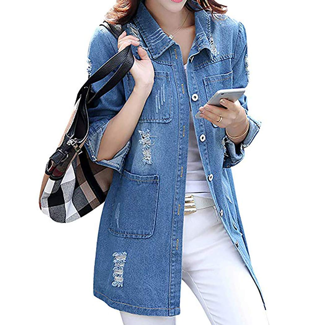 Nilover Women Girls Distressed Denim Jacket Spring Summer Vintage Denim Jacket Ladies Casual Denim Coat