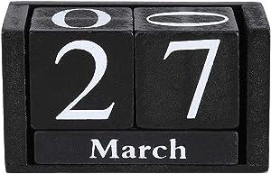 Duokon Vintage Wooden Calendar Desktop Wood Block Month Date Display Home Office Decoration (Black)