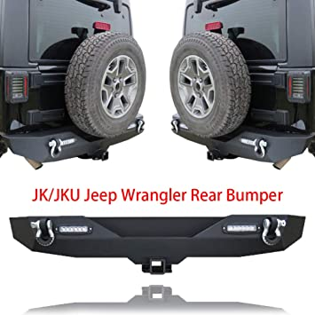 New Rear Bumper For 07-18 Jeep JK Wrangler With Pair LED Lights