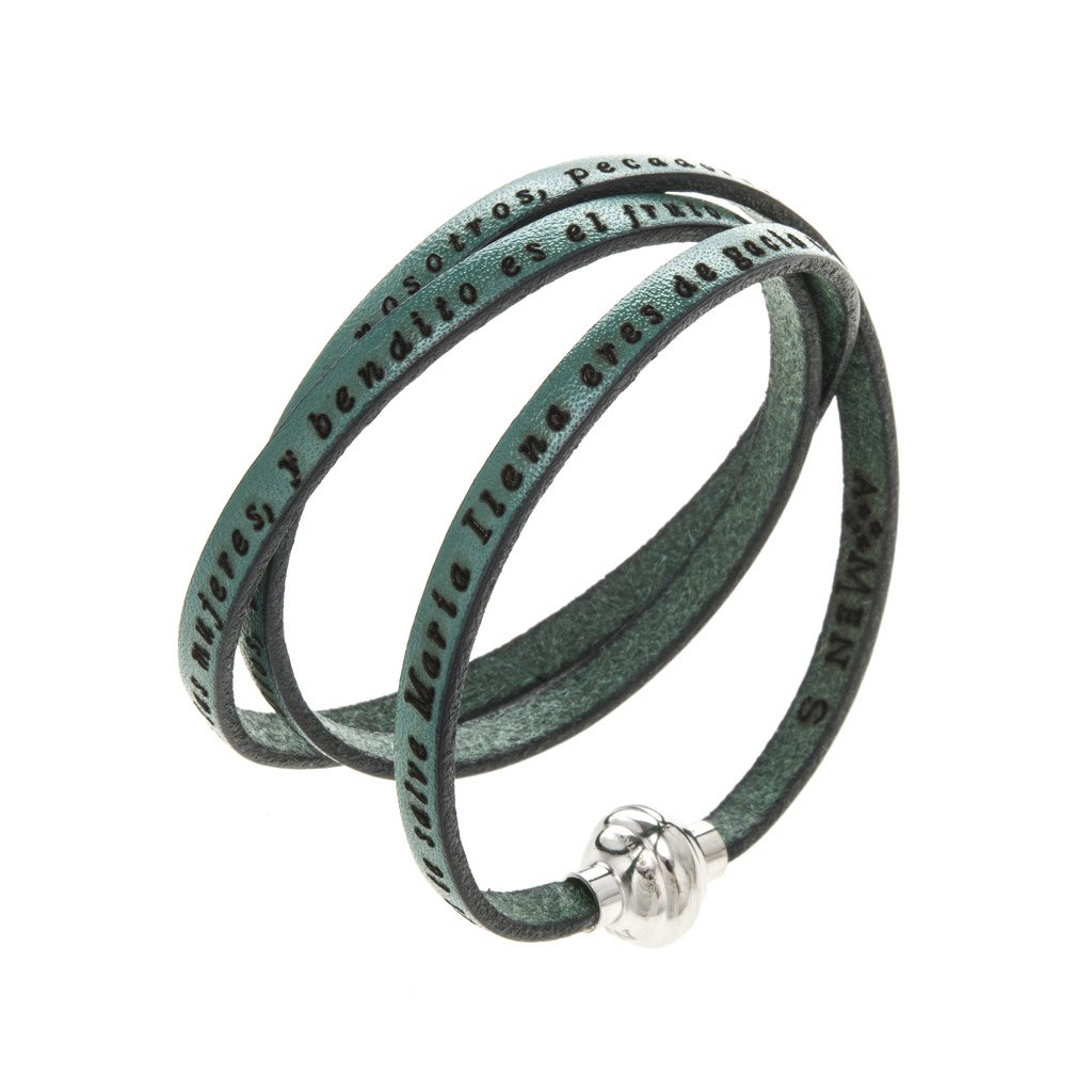 Amen Bracelet in green leather Hail Mary SPA, 54 cm (21.28 inc.)