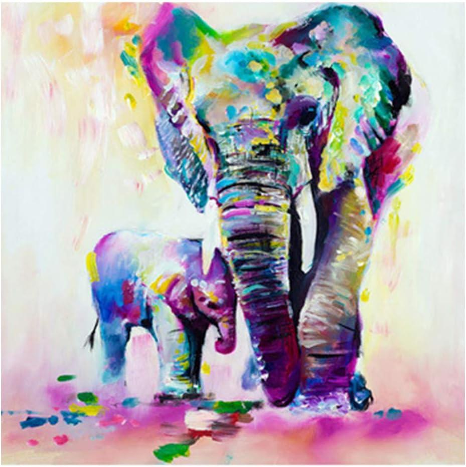 Cuadro de acuarela para decoración del hogar, animales, imágenes, elefantes, pósters, lienzo, sala de estar, pared abstracta, As Picture Show, 60x60