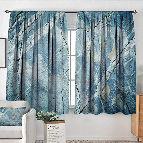 Marble Room Darkening Curtains Exquisite Granite Stone Architecture Floor Artistic Nature Faded Rock Picture Decor Curtains by 63