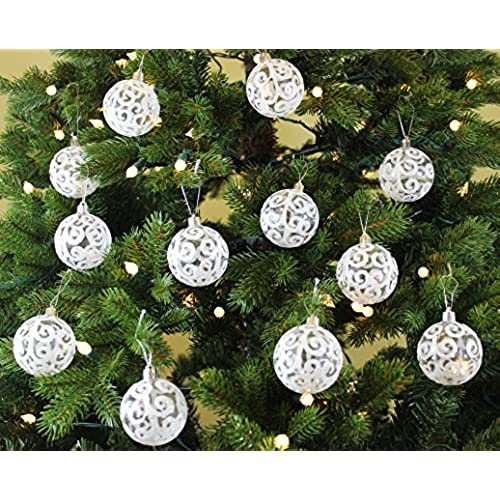 festive season white swirl shatterproof christmas ball ornaments tree decorations set of 12 60mm - Amazon White Christmas Decorations
