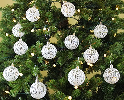 Festive Season 24pk 60mm Transparent Swirl Christmas Tree Ball Ornaments, White (Transparent Ornaments Christmas)