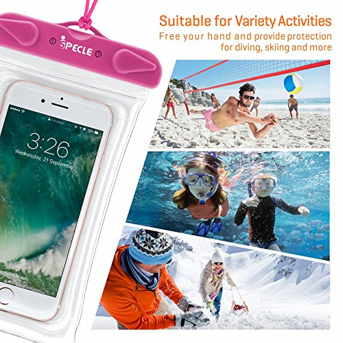 Waterproof Cell Phone Case, iSPECLE 3 Pack Waterproof Cases Pouch Dry Bag for iPhone 8 7 6S Plus 5 SE X Nexus 6P 5X, Samsung Galaxy S8 Edge Kayaking Snorkeling Swimming Fishing Beach Green Orange Pink by iSPECLE (Image #3)