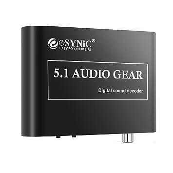 ESYNiC Digital a Analógico Adaptador de 5.1 Audio Decodificador de Sonido Gear SPDIF RCA Dolby AC3 DTS Óptico Coaxuak Entrada- Perfecto para HDTV DVD ...