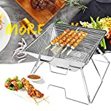 Vbestlife Folding Charcoal BBQ Grill,Stainless Steel Portable BBQ Picnic Barbeque Grill for Camping, Picnics, Backpacking, Backyards, Survival, Emergency Preparation