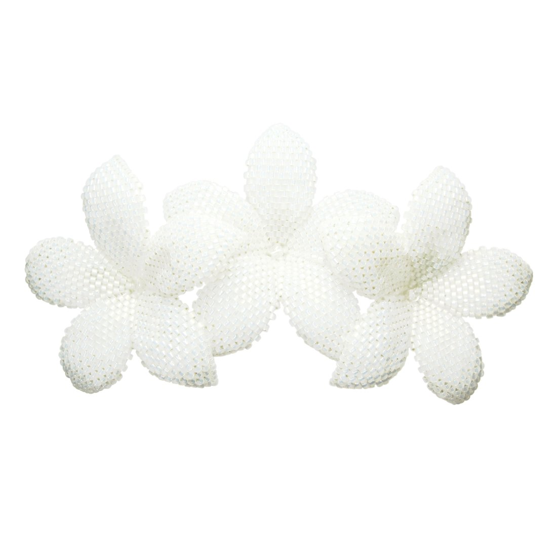 Heart in Hawaii Beaded Plumeria Trio - Sparkly White Satin
