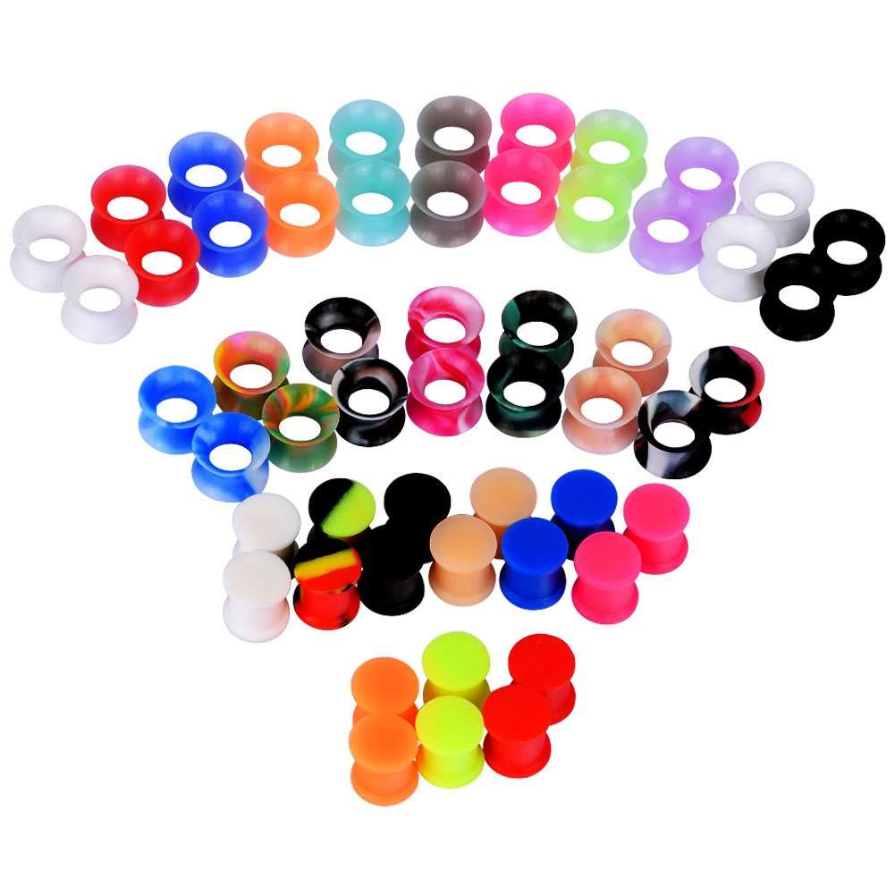 IU Mode 54PCS Silicone Tunnels Ear Gauges Tunnels Plugs Stretchers Expander 0g(8mm)
