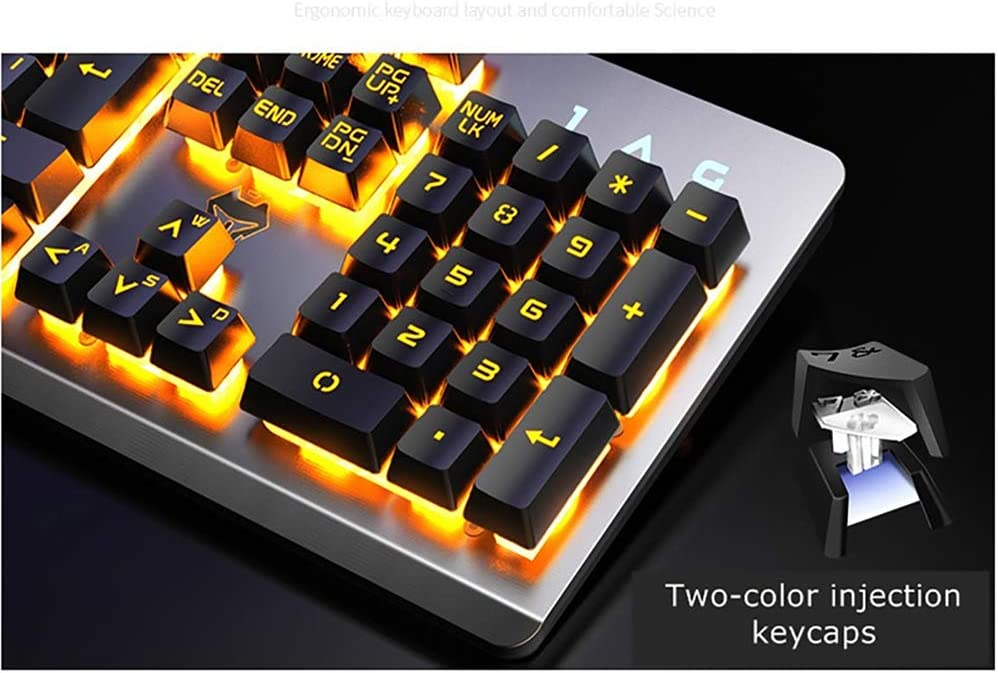 Ergonomic Design Support for Multimedia Buttons LINGYUN RGB Backlit Gaming Keyboard Suitable for PC Laptops Metal Brushed Panel 19-Key No Impact