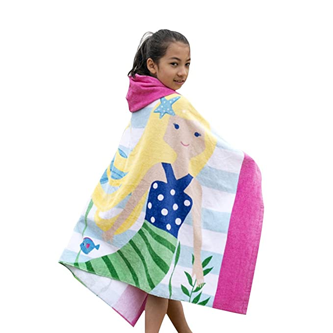 Amazon.com: IvyH Kids Beach Towels - Kids Hooded Beach Bath Towel 100% Cotton Bathrobe Blanket Childrens Towel Swimming Surfing Girls Boys: Home & Kitchen