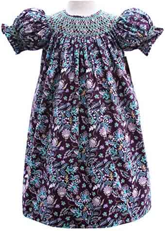 18d8e7d0d Carouselwear Baby Girls Fall Dress with Purple Paisleys and Turquoise  smocking