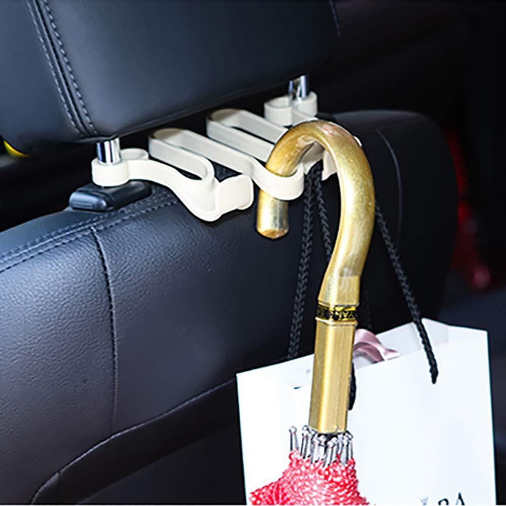 Car Back Seat Hooks Headrest Hanger Holder Hooks Strong Hanger Storage for Bag Purse Cloth Grocery (Beige)