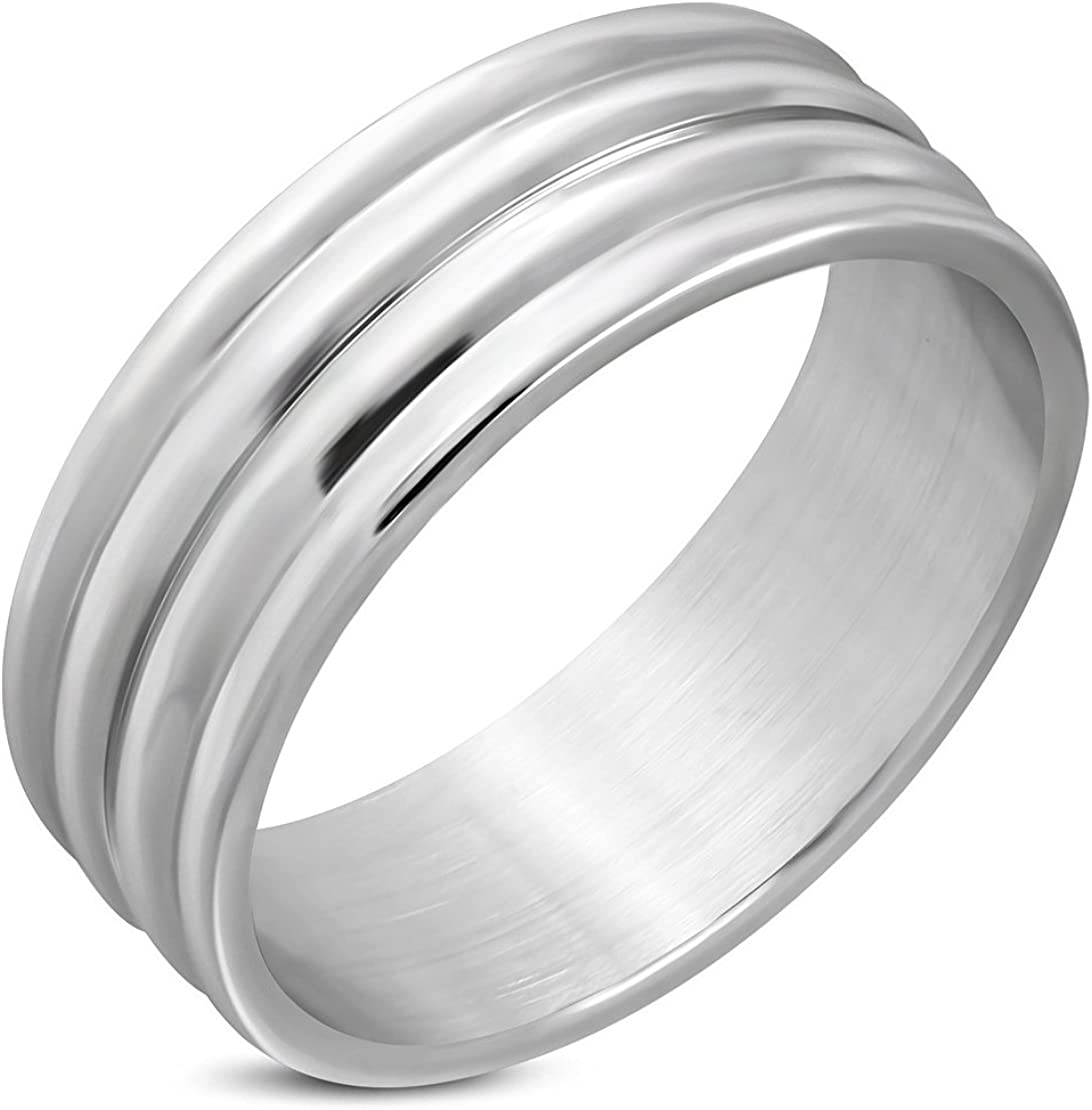 Stainless Steel Ribbed Flat Band Ring
