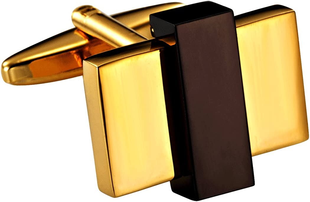Unique Gold Toned Stainless Steel Rectangular Mens Fashion CuffLinks