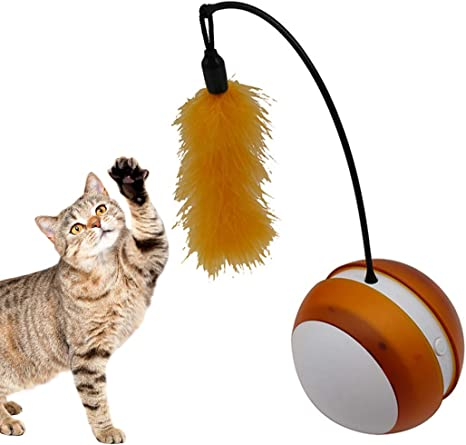 Bangcool Juguete para Mascotas Vaso eléctrico Faux Feather Pelota ...