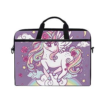 Ahomy - Bolsa para Ordenador portátil de 15 a 15,4 Pulgadas, diseño de Unicornio Sobre un Lienzo arcoíris, con Correa para el Hombro para Mujeres y Hombres: ...