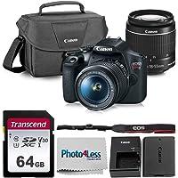 Canon EOS Rebel T7 Digital SLR Camera Bundle + EF-S 18-55mm f/3.5-5.6 is II + Canon 200ES Shoulder Bag + Transcend 64GB UHS-I U3 SD Memory Card Top Value Bundle!