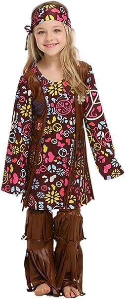 MOMBEBE COSLAND Disfraz Hippie Niñas (Flor, M): Amazon.es: Ropa y ...