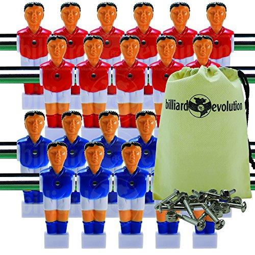 Billiard Evolution 22 Red/Blue Shirts/Socks Foosball Men + Screws/Nuts Bag