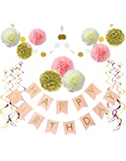 Litaus Birthday Decorations Pink And Gold Happy For Women Banner