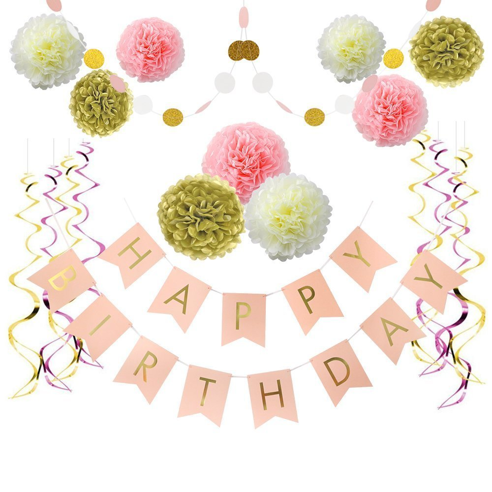 Paper Flowers for Kids Girls Birthday Party Decorations Supplies LITAUS Tri-Color Birthday Decorations Happy Birthday Banner Birthday Party Supplies 1st Birthday Girl Decorations Party Balloons