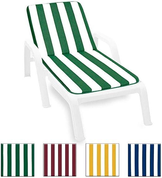 ARREDIAMOINSIEME-nelweb - Lima - Coussin pour chaise longue de piscine, plage ou jardin, tissu en coton, 100 % fabriqué en Italie, modèle à rayures vert: Amazon.es: Jardín