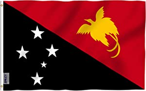 Anley Fly Breeze 3x5 Feet Papua New Guinea Flag - Vivid Color and Fade Proof - Canvas Header and Double Stitched - Papuan Flags Polyester with Brass Grommets 3 X 5 Ft